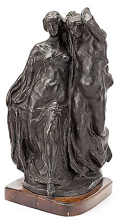 "Josep Clarà. Olot 1878-Barcelona 1958. ""El ritme"". Bronze scultural group with wooden stand. Signed. Orinal model 1910. Posthumous smel"