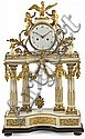 A Louis XVI white marble and gold-plated bronze Parisienne clock. Last third of the 18th century. Paris machinery. Hours and half-hour