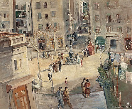 Joan Commeleran. Barcelona 1902-1992. Plaça del Sortidor. Barcelona. Oil on canvas. Signed and dated in 1931. Located in the reverse si