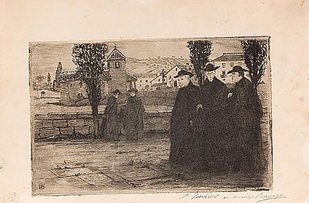 Ricardo Baroja. Minas de Río Tinto 18- Vera de Bidasoa 1953. Priests. Etching. Signed and dedicated with monogram. 13,5x21,5 cm