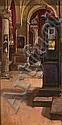 Mateo Balasch. Sant Andreu de Palomar 1870- Barcelona 1936. Church interior. Oil on canvas. Signed. 39,5x19,5 cm, Mateu Balasch, Click for value