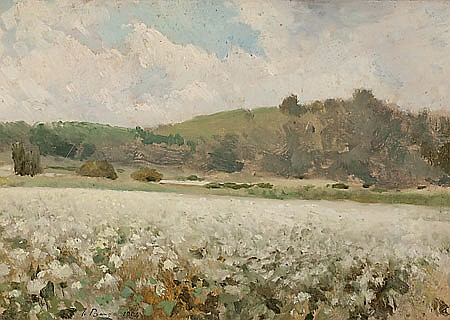 Josep Berga Boada. Olot 1872- Sant Feliu de Guixols. 1923. Landscapes. Two oils on paper stuck to cardboard. Signed and dated in 1904.