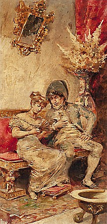 José Denis Belgrano. Málaga 1844-1917. Goyesque couple. Oil on panel- signed. 42,7x20,5 cm