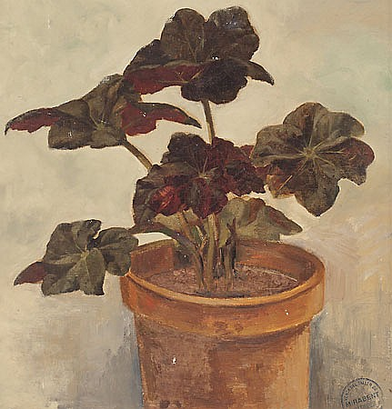 Josep Mirabent Gatell. Barcelona 1831-1899. Flowerpot. Oil on canvas stuck on panel. With stamp of the artist's executrix. 40X38 cm