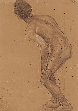 Feliu Elias Bracons. Barcelona 1878-1948. Male studio. Charcoal and gouache on paper drawing. Signed and dated in 1908. 62x46,5 cm
