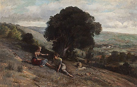 Josep Berga Boada. Olot 1872- Sant Feliu de Guixols. 1923. Landscape with two young ladies. Oil on canvas.. Signed and dated in 1895.63