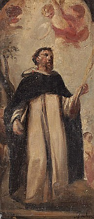 Antoni Caba. Barcelona 1838-1907. Dominican Saint. Oil on canvas. Signed. 35,5x16 cm