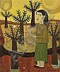 Joan Brotat Vilanova. Barcelona 1920-1990. Young lady in a landscape. Oil on canvas. Signed. 67X54 cm, Joan Brotat, Click for value