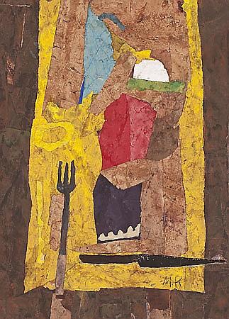 Miguel Rasero. Córdoba 1955. Still life. Collage on tablex. Signed. 78,5x56,5 cm