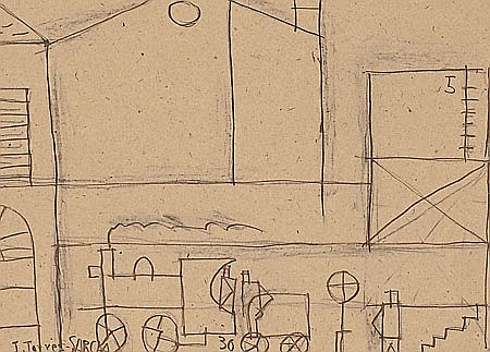 Joaquin Torres García. Montevideo 1874-1949. Houses and locomotive. Ink and pencil drawing on paper. Signed and dated in 1930. Certific