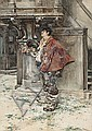 Cesare Tiratelli. Roma 1864-1933. Musketeer. Watercolour on paper. Signed. 64,5x52,5 cm, Cesare Tiratelli, Click for value