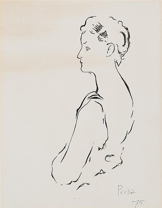Pere Pruna Barcelona 1904 - 1977 Una joven Tinta sobre papel