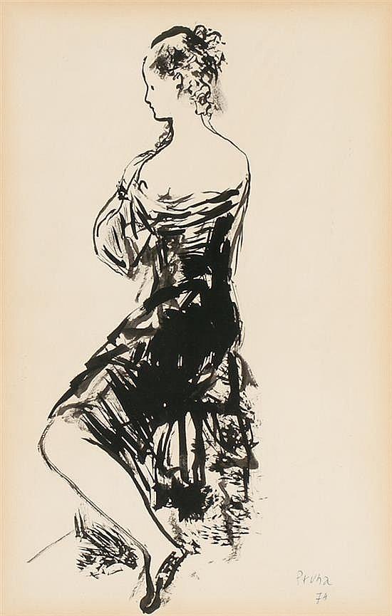 Pere Pruna Barcelona 1904 - 1977 Una joven de espaldas Dibujo a tinta sobre papel