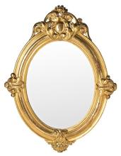 Isabella II oval-shaped mirror with carved and gilded wooden frame, mid 19th Century