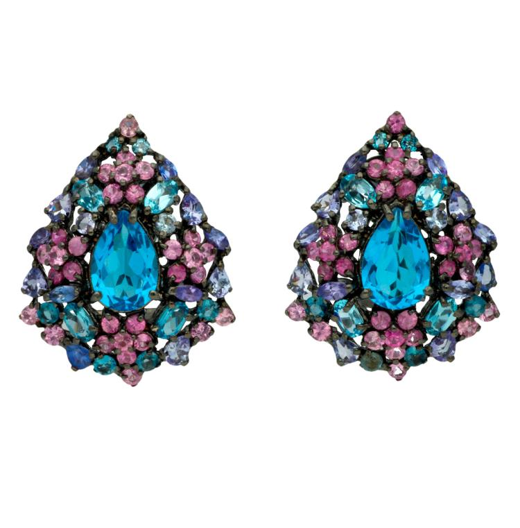 Colourful stones floral earrings Black-rhodium silver and pear, round, oval and marquise cut topazes, rose sapphires and tanzanites, 15.90 cts. 3,3 cm 16,7 gr