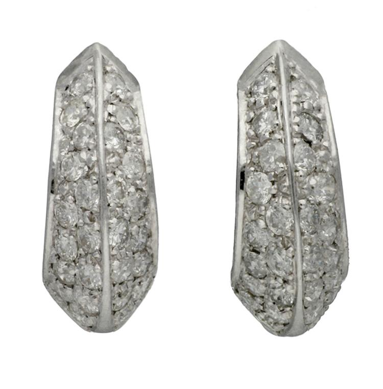 Diamonds creole earrings White gold and brilliant cut diamonds, 1.21 cts. 1,7 cm 7 gr