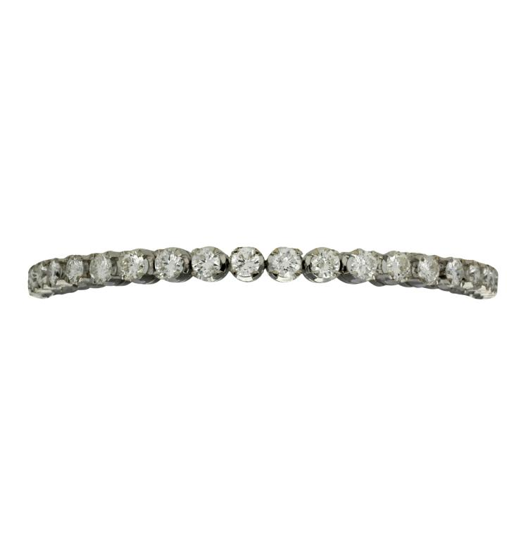 Diamonds rivière bracelet White gold and brilliant cut diamonds, 6.53 cts. 15,4 gr