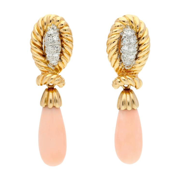 Angel skin coral long earrings Gold and 14 cts white gold, 8/8 cut diamonds, 0.12 cts, and two angel skin coral teardrops. 4,1 cm 11,2 gr