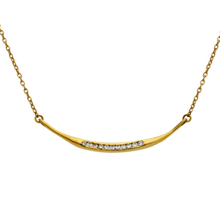 Diamonds choker necklace Gold and brilliant cut diamonds, 0.10 cts. 3,7 cm 3,2 gr