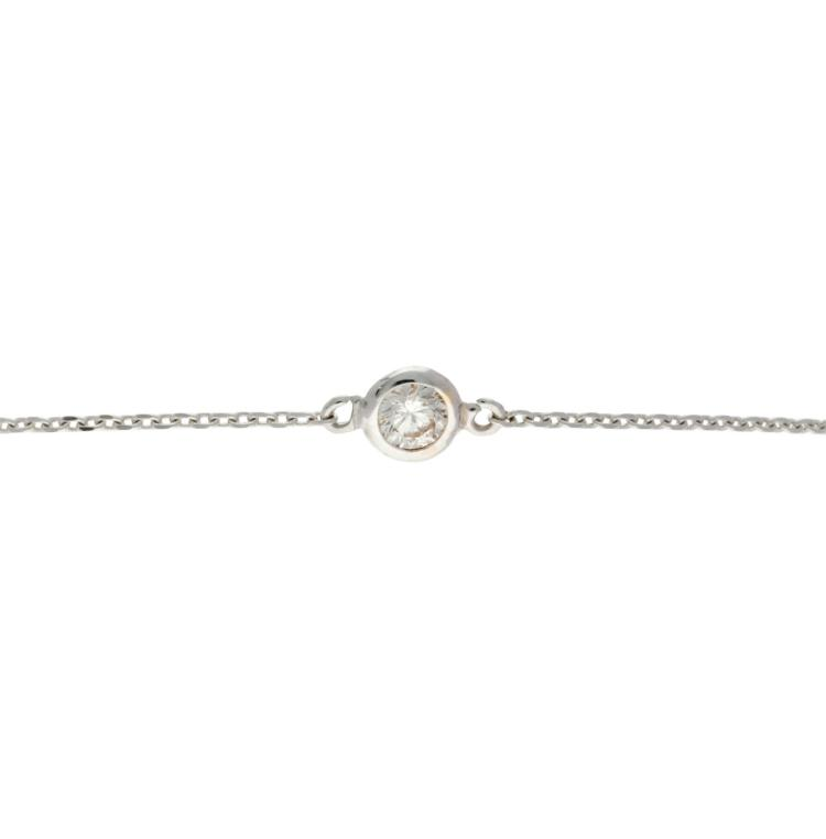 Bracelet with a solitaire diamond White gold and brilliant cut diamond, 0.08 cts. 0,9 gr