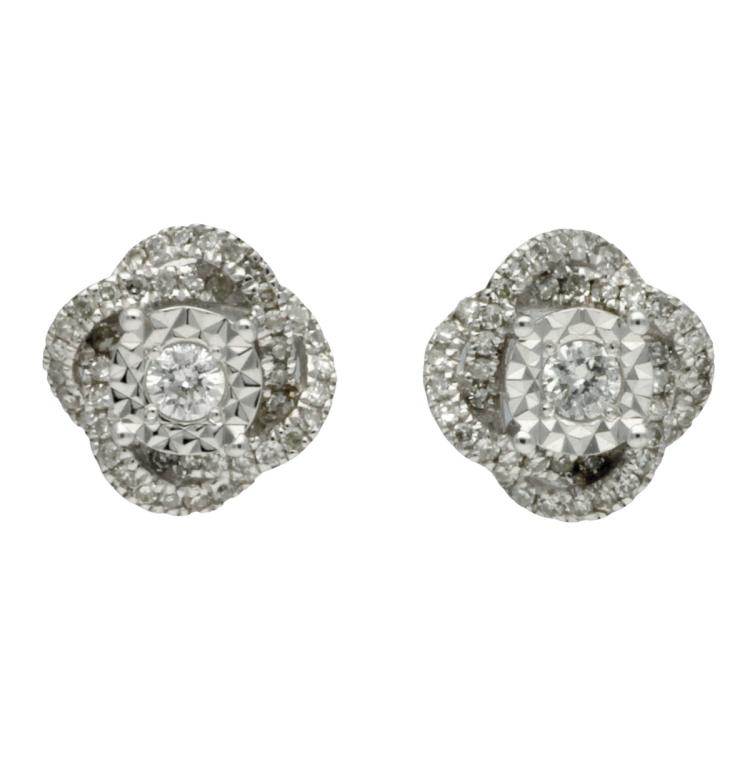 Diamonds rosette earrings White gold and brilliant and 8/8 cut diamonds, 0.23 cts. 0,7 cm 1,8 gr