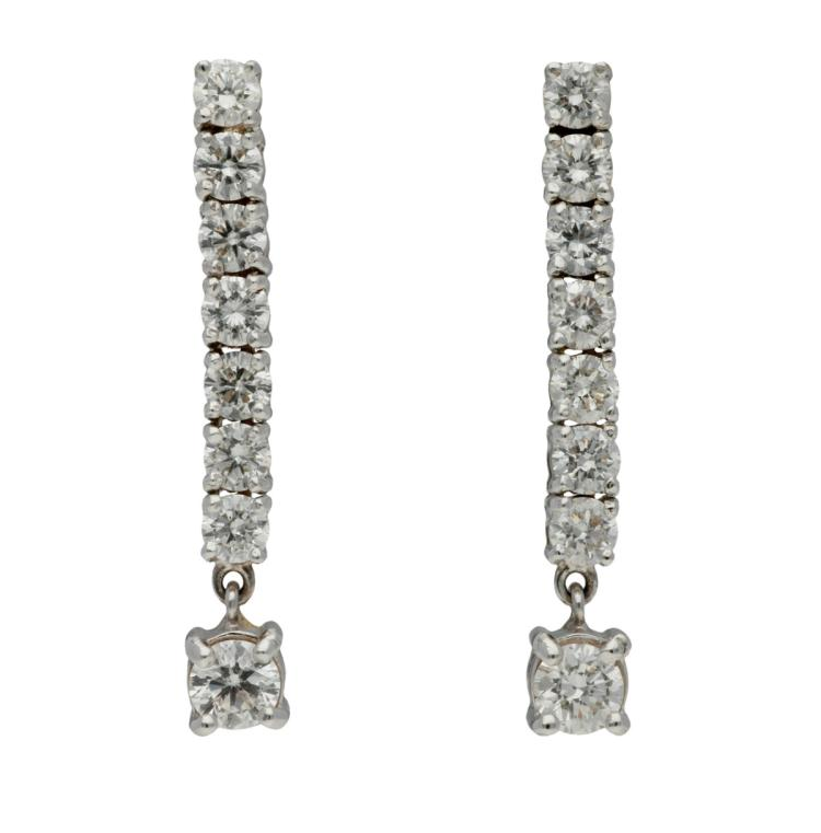 Diamonds pendant earrings White gold and brilliant cut diamonds, 0.87 cts. 2,3 cm 2,3 gr