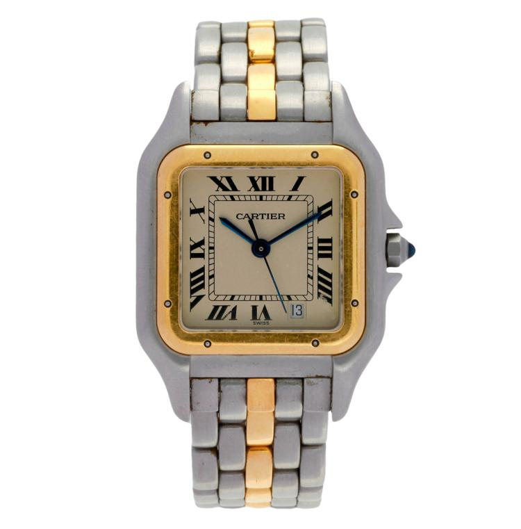 Cartier, Panthère Steel and gold lady's wristwatch Funciones: Calendar Movement: Quartz Calibre: 83 Original steel and gold band. 26 mmx26 mm Woman