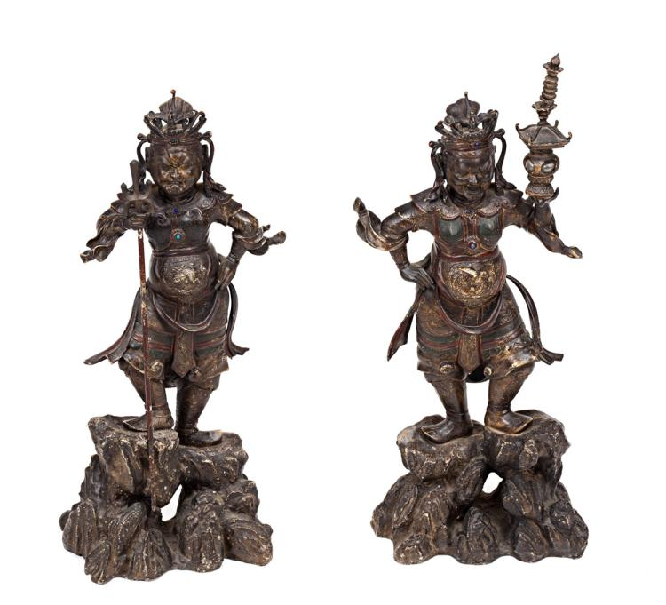 Chinese school, late 19th Century-first third 20th Century Warriors Pair of lacquered iron sculptures 69x30x15 cm the biggest