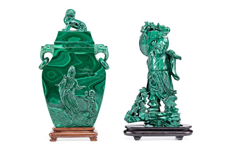 Chinese school, 20th Century Potiche and holy man Two Chinese malachite pieces Size potiche 33x19x5 cm