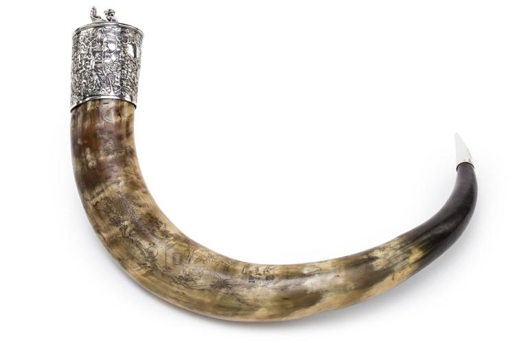 Chinese container made of a big engraved bovine horn with silver mount, first half of the 20th Century 58x11x9 cm