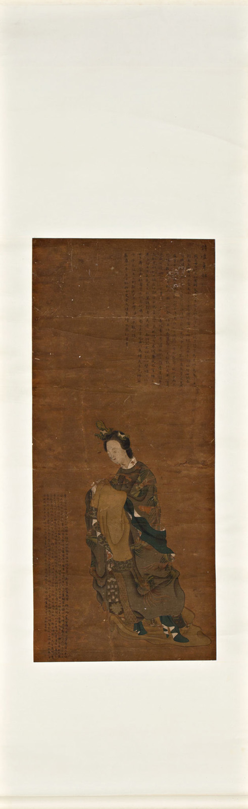 Chinese school, 19th Century Lady Gouache painting on paper 179,5x56 cm