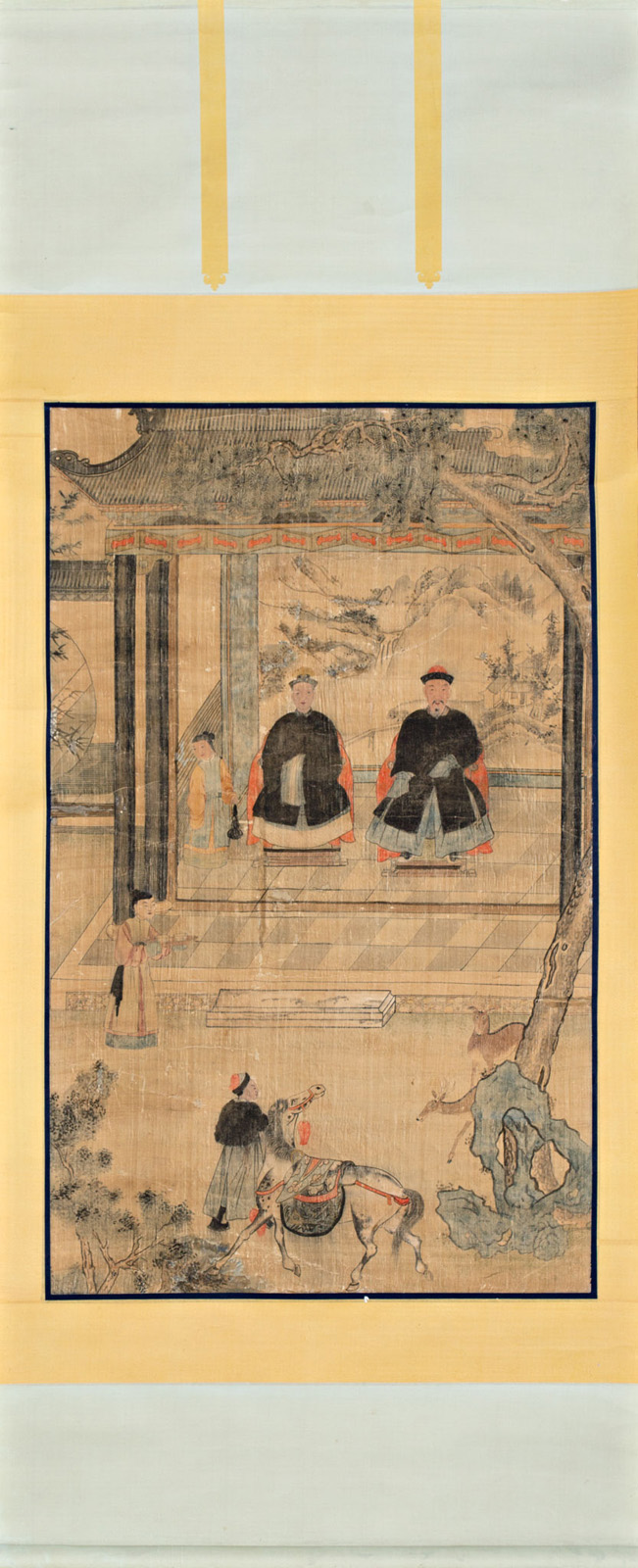 Chinese school, 19th Century Portraits of ancestors Gouache painting on paper In roll 200,5x91,5 cm
