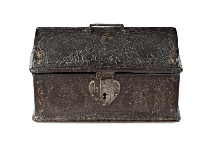 Cordoba leather chest, engraved and partially gilt, wiht wrought iron ironworks, 15th Century with subsequent transformations Decorations of human figures, birds and flowers. Wooden interior. Literature: