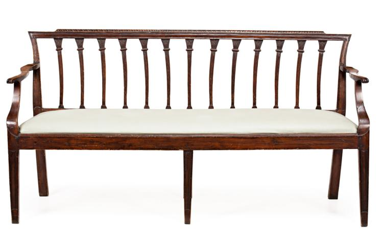 Charles IV settee in walnut and inked pine, circa 1800 Subsequent transformations 89x167x48 cm