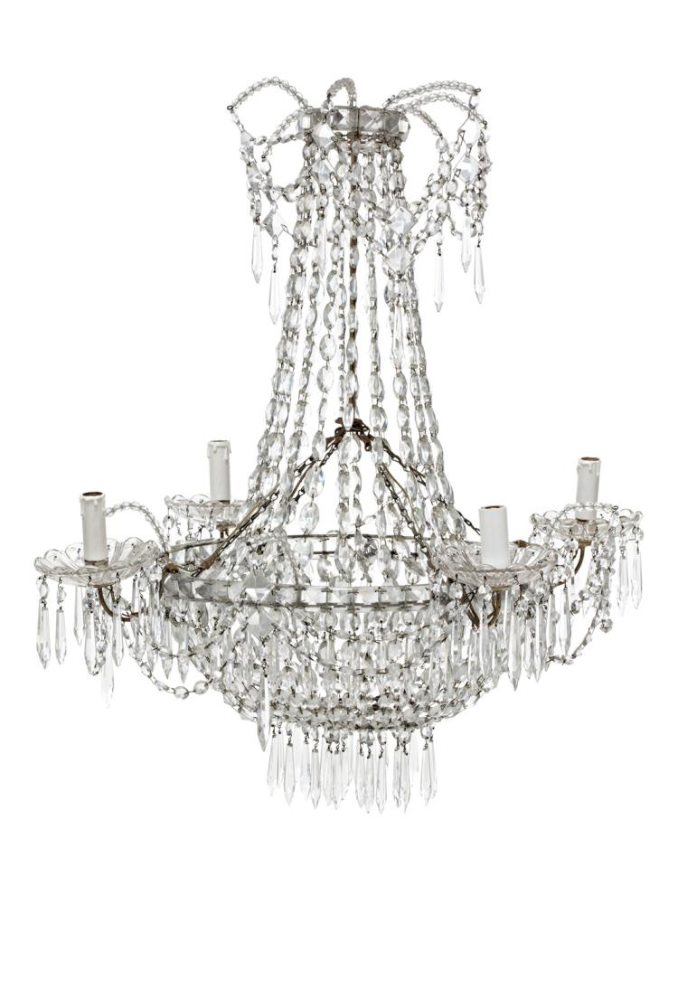 Charles IV crystal ceiling lamp, late 19th Century 4 lights 77x65x65 cm