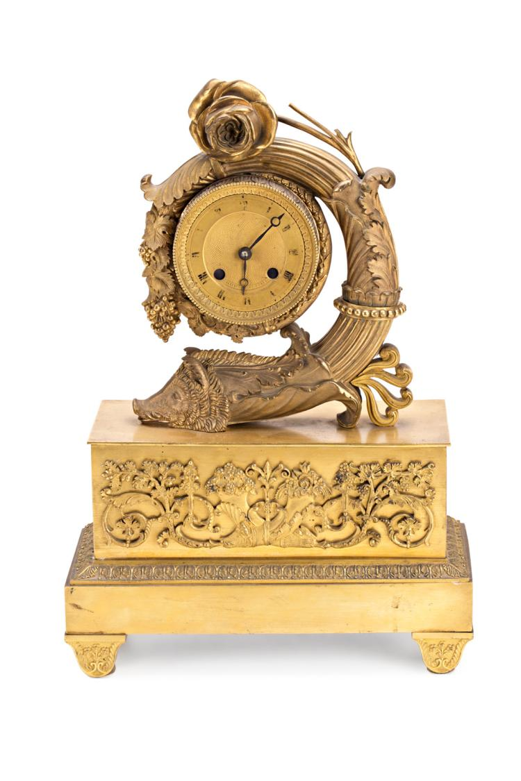 French Gilt Bronze Table Clock 19th Century Adapted Quartz # Muebles Calle Dato