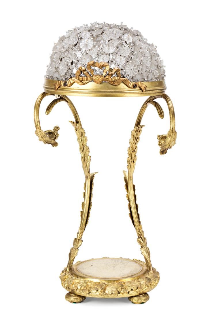 Bronze table lamp with crystal lampshades, probably of Baccarat, first decades of the 20th Century 41x20x21 cm