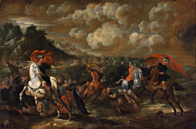 Attributed to Esteban March Valencia 1610 - 1668 Battle Oil on canvas 91x137,5 cm