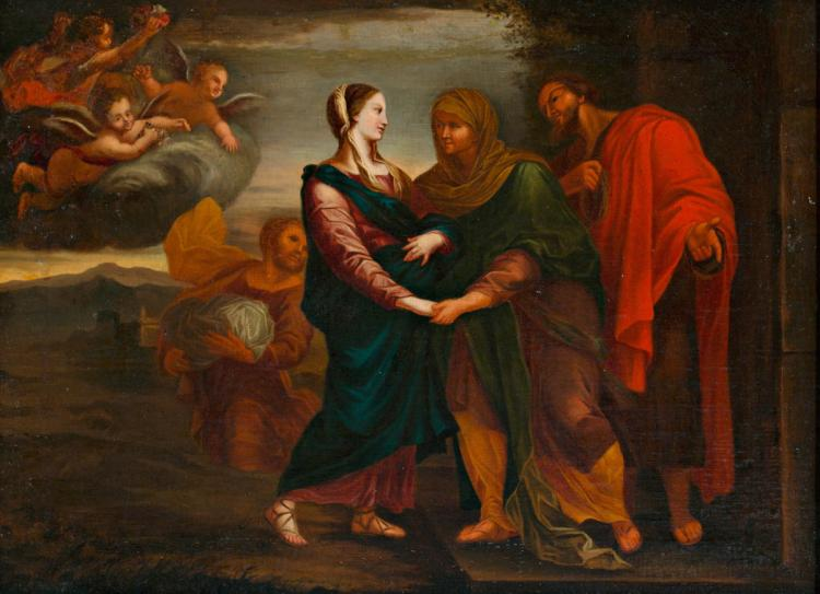 Catalan school, 18th Centy The Visitation Oil on canvas Composition based on a print by Carllo Maratta. We thank the collaboration of Francesc Miralpeix, indispansable in cataloguing this work 46,65x64 cm