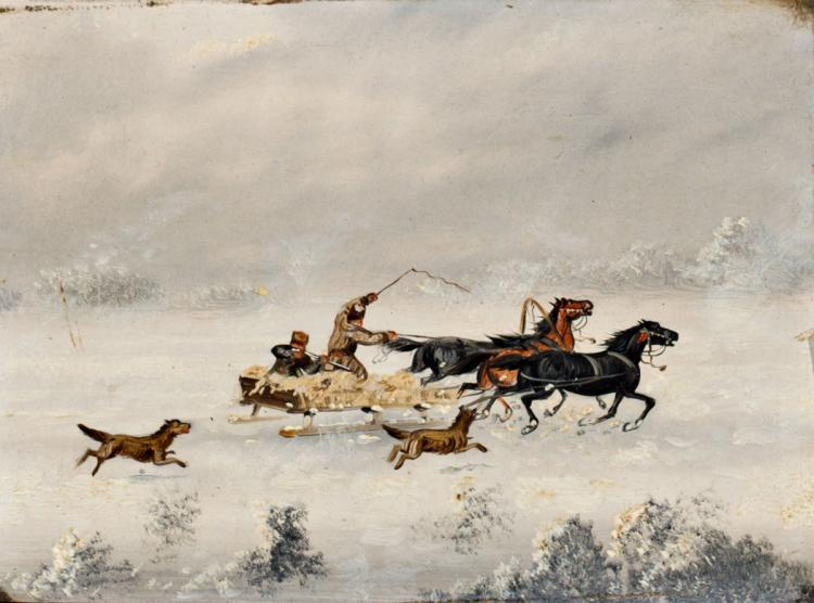 Central European shcool, 19th Century Snowy landscapes A pair of oils on board 15,5x21 cm