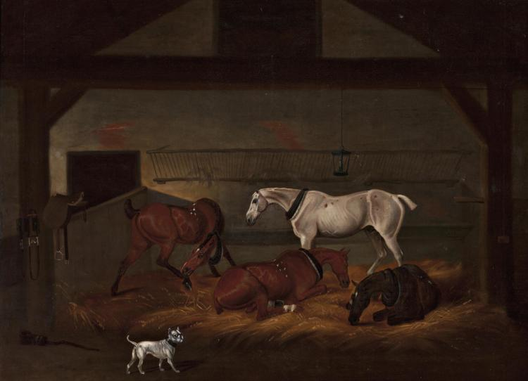 Attributed to David Dalby of York ? 1794 - York 1836 Stable Oil on canvas Attributed as per a front plaque 90,5x124,5 cm