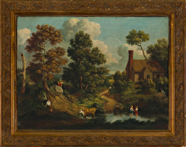 Central European school, 19th Century Landscape Oil on canvas 59x79 cm