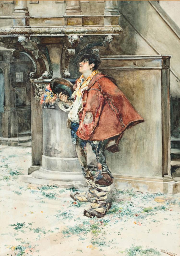 Cesare Tiratelli Roma 1864 - 1933 A boy Watercolour on paper 74x52,5 cm