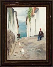 Josep Triadó Mayol Barcelona 1870 - 1929 Street of a village Oil on canvas Signed 87x65,5 cm
