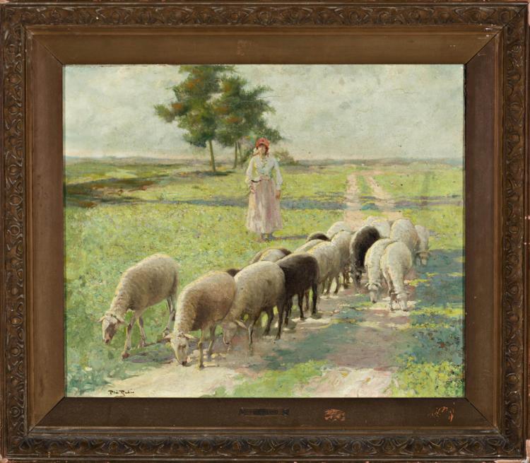 Alberto Pla Rubio Vilanova de Castelló 1867 - Barcelona 1929 Shepherd with a herd Oil on canvas Signed 49,5x59,5 cm