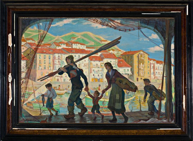 Ángel Garavilla Lequeitio 1906 - Barcelona 1961 Familty at a stuary Oil on canvas Signed 76x112 cm
