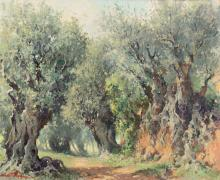 """Josep Ventosa Domènech Barcelona 1897 - Port d'Andratx 1982 """"Olive trees"""" Oil on canvas Signed. On the back, signed, titled and located in Biniaraix (Majorca) 60x73 cm"""