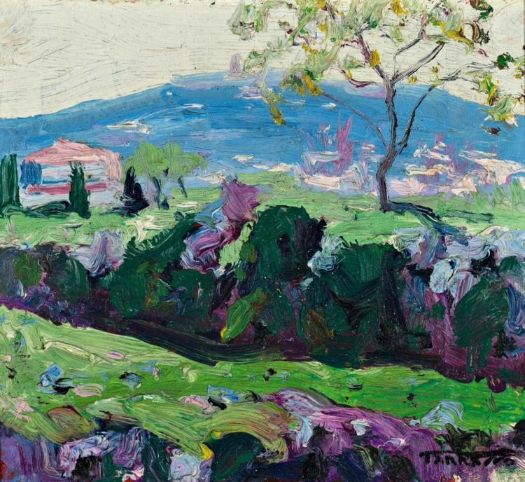 Casimir Martínez Tarrassó Barcelona 1898 - 1980 Landscape Oil on canvas stuck to board Signed 13,7x15,4 cm
