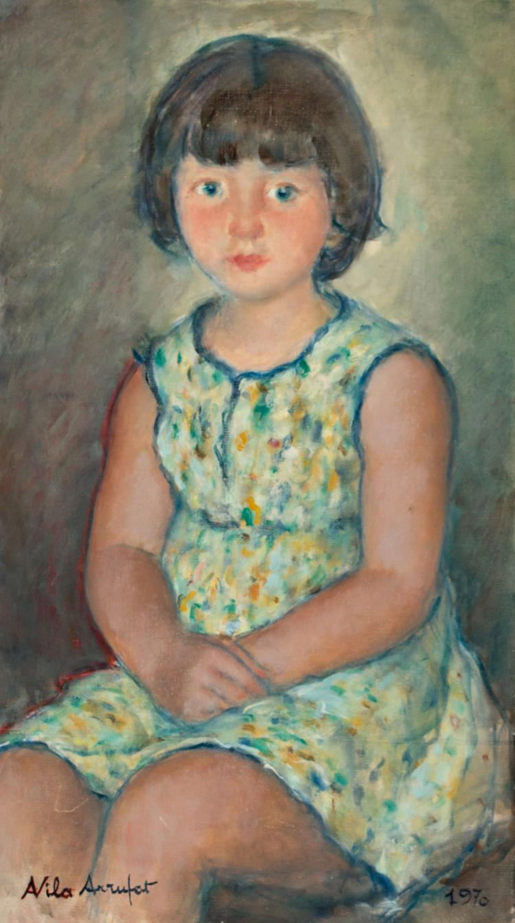 Antoni Vila Arrufat Sabadell 1894 - Barcelona 1989 Girl Oil on canvas Signed and dated in 1970. On the back, signed with a monogram, located and double dated in Sant Sebastià de Montjamor in 1970; with a stamp of the support's manufacturer, the Ginebra House of Barcelona 68x38,4 cm