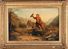 "Charles John Watson Norwich 1846 - Londres 1927 ""Niño sobre asno"" Óleo sobre lienzo"